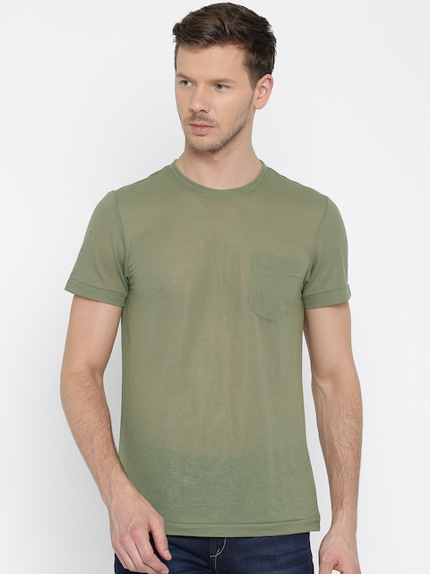 Arrow Sport Men Olive Green Solid Round Neck T-shirt  available at myntra for Rs.559
