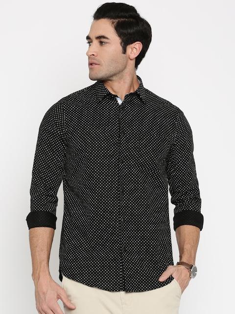 Arrow New York Men Black & White Slim Fit Printed Casual Shirt