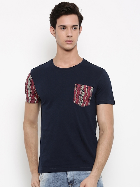 Arrow Blue Jean Co. Men Navy Blue Solid Round Neck T-shirt  available at myntra for Rs.479
