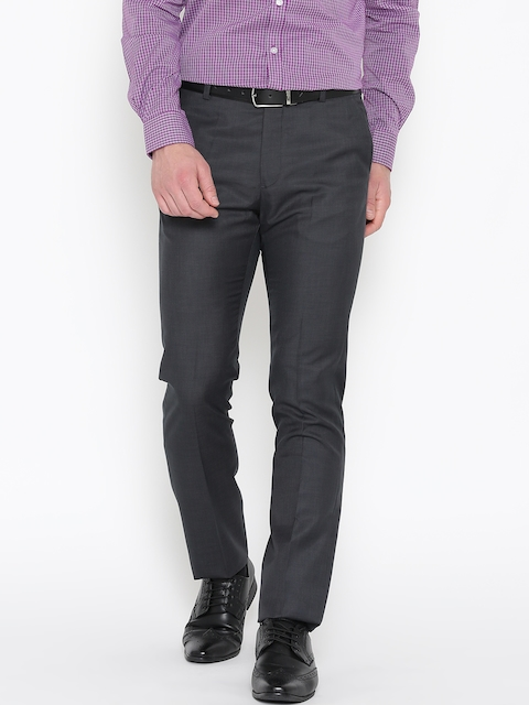 Arrow Men Charcoal Grey Tapered Fit Solid Formal Trousers