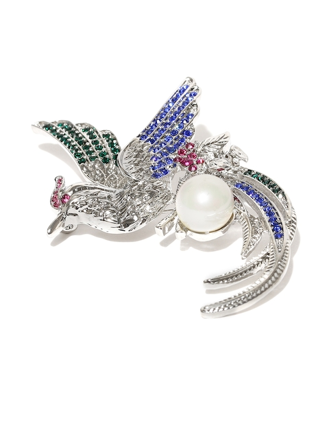 YouBella Unisex Blue & Silver-Toned Stone-Studded Phoenix-Shaped Brooch