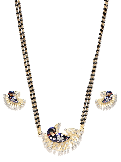 YouBella Black Gold-Plated Stone-Studded Peacock-Shaped Mangalsutra & Earrings Set