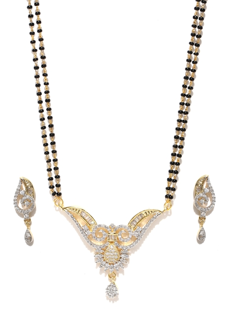 YouBella Black Gold-Plated Stone-Studded Mangalsutra & Earrings Set
