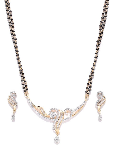 YouBella Black Gold-Plated American Diamond-Studded Mangalsutra & Earrings Set
