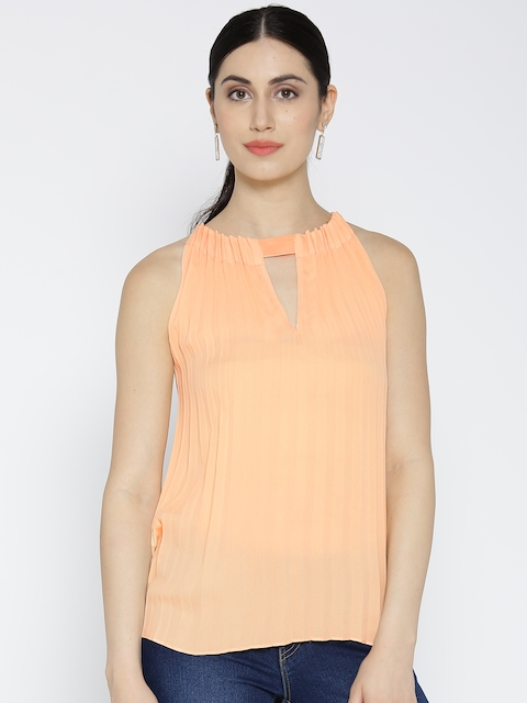 United Colors of Benetton Women Peach-Coloured Accordion Pleat A-Line Top