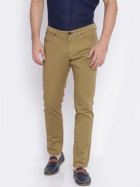 Pepe Jeans Men Khaki Regular Fit Solid Trousers