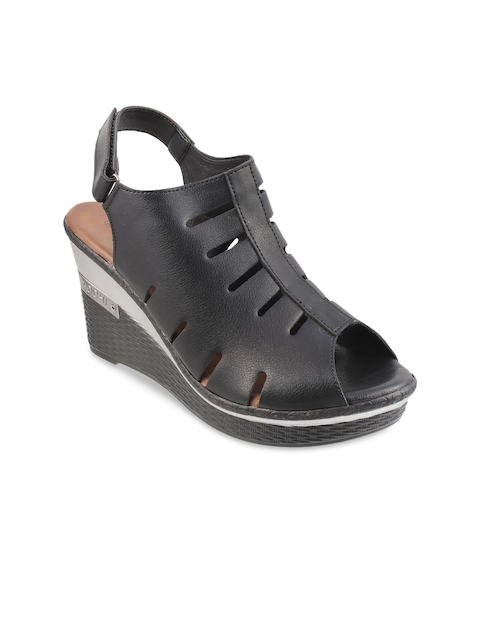 Mochi Women Black Solid Sandals