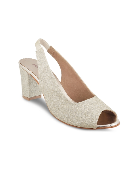 Mochi Women Gold-Toned Solid Peep Toes