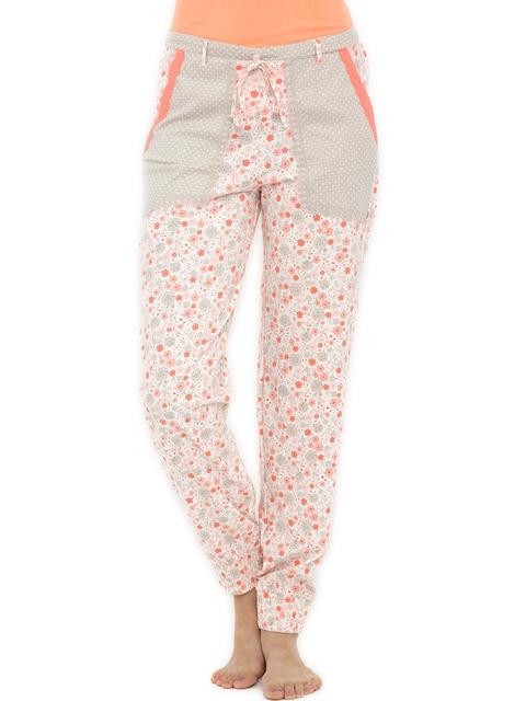 Heart 2 Heart Women Grey & Orange Printed Lounge Pants