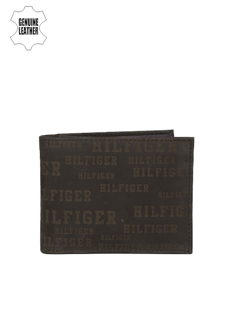 Tommy Hilfiger Men Brown Printed Genuine Leather Two Fold Wallet