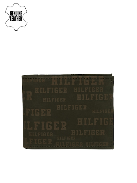 Tommy Hilfiger Men Brown Genuine Leather Printed Two Fold Wallet