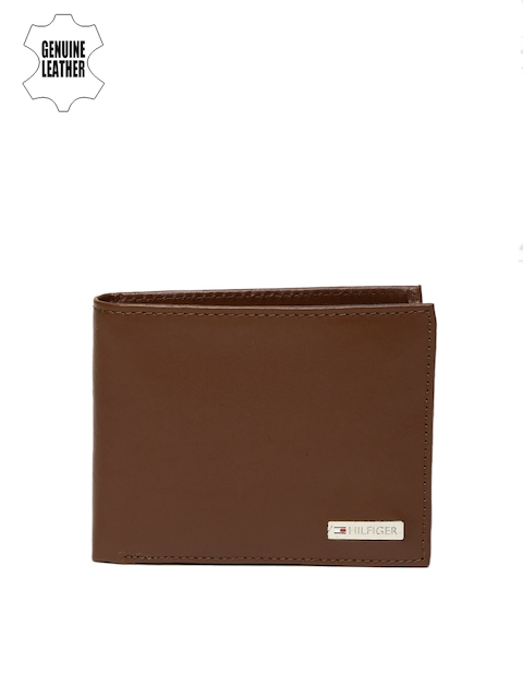 Tommy Hilfiger Men Tan Brown Genuine Leather Two-Fold Wallet