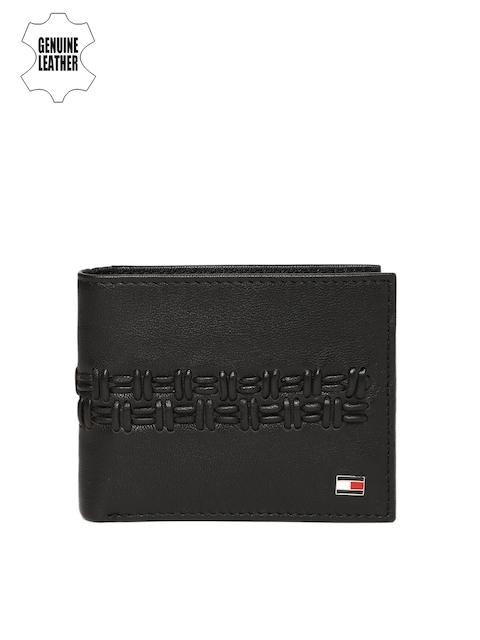 Tommy Hilfiger Men Black Self-Design Genuine Leather Two Fold Wallet