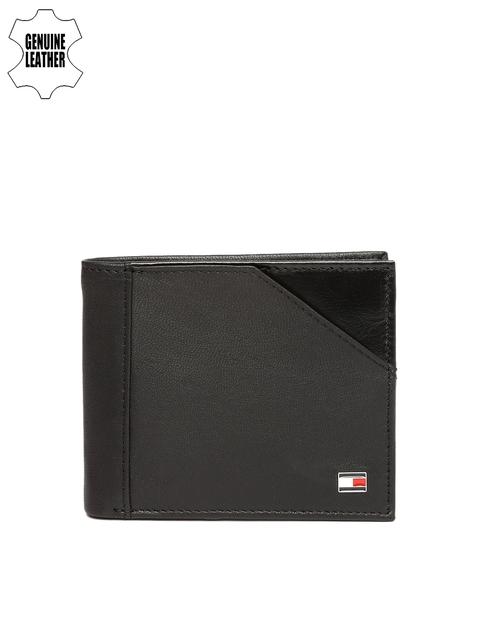 Tommy Hilfiger Men Black Solid Two Fold Leather Wallet
