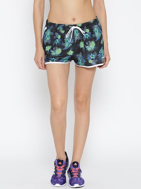 ADIDAS NEO Women Black AOP Floral Print Sports Shorts