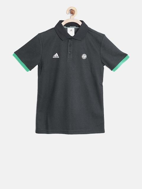 ADIDAS Boys Charcoal Grey Ronald Garros BB Polo Collar T-shirt