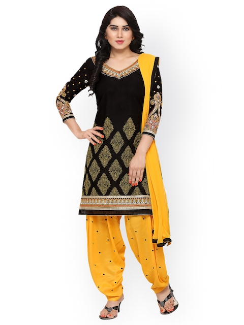 Kvsfab Black & Yellow Pure Cotton Embroidered Unstitched Dress Material