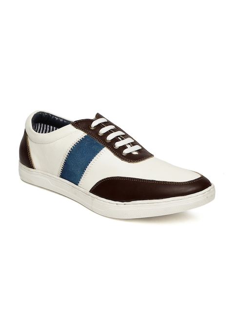 Buckaroo Men White & Brown Colourblocked Sneakers