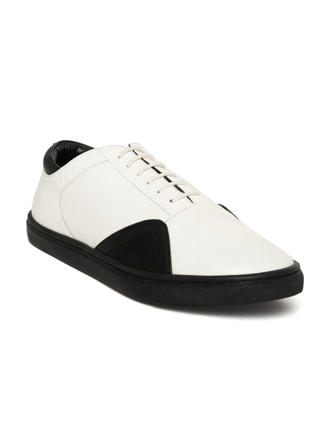 Buckaroo Men White & Black Spencer Colourblocked Oxford Shoes