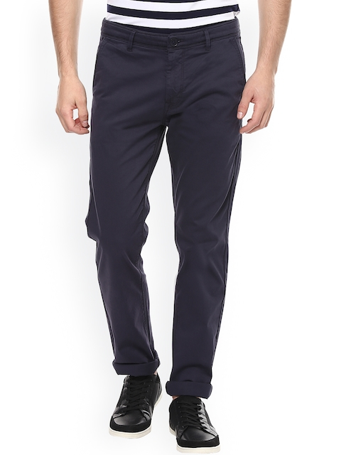 SPYKAR Men Navy Slim Fit Solid Chinos
