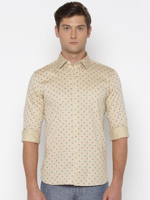 Parx Men Beige Slim Fit Printed Casual Shirt