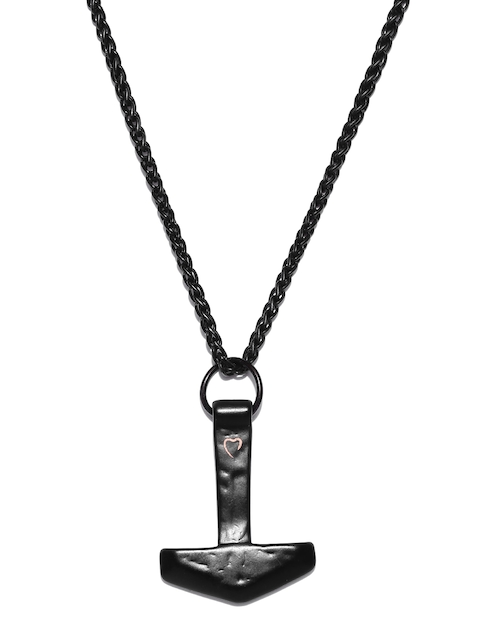 Being Human Jewellery Men Black Iron-Plated Pendant with Chain