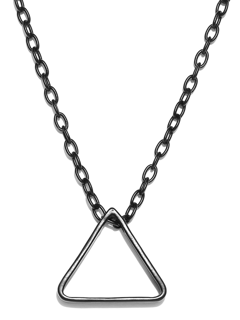 Being Human Jewellery Men Black Iron-Plated Triangular Pendant with Chain