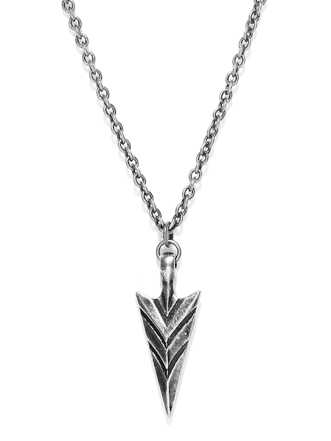 Being Human Jewellery Men Oxidised Silver-Toned Pendant with Chain