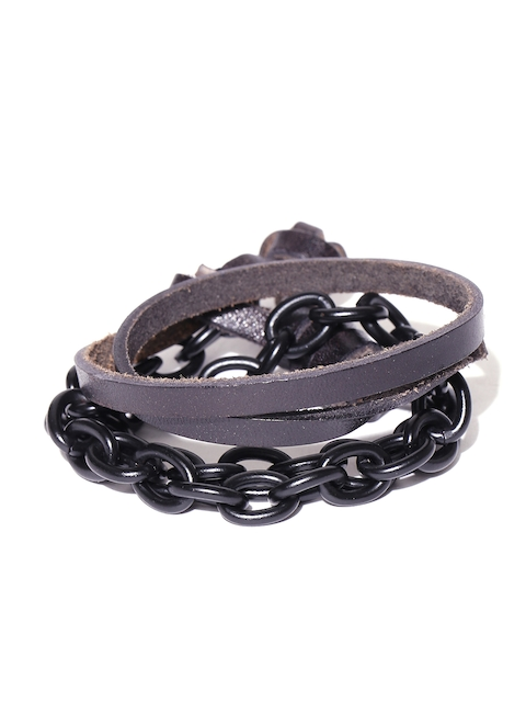 Being Human Man Black Dual-Stranded Leather Chain Bracelet