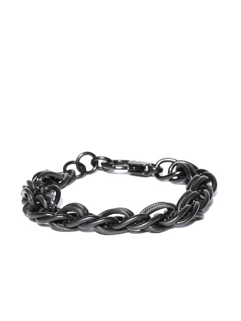 Being Human Men Black Metallic Bracelet