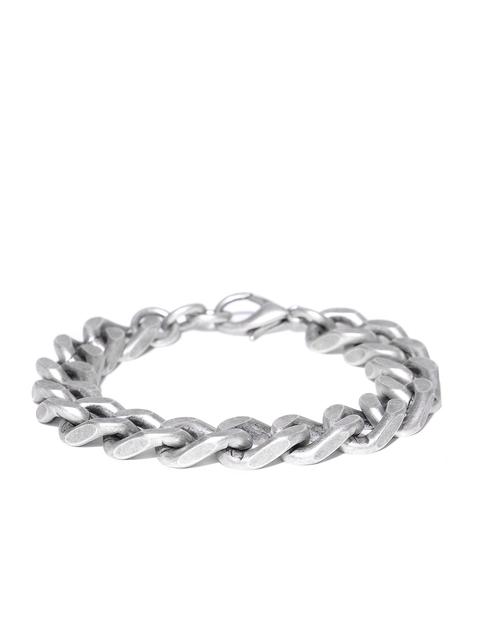 Being Human Men Oxidised Silver-Toned Metallic Bracelet