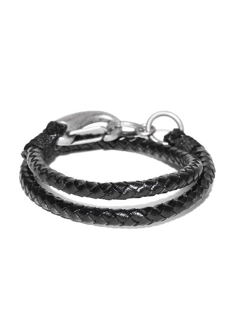 Being Human Men Black Dual-Stranded Braided Bracelet