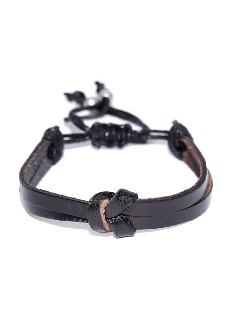 Being Human Men Black Dual-Stranded Leather Bracelet