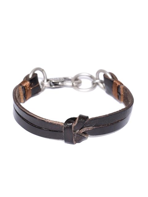 Being Human Men Coffee Brown Dual-Stranded Leather Bracelet