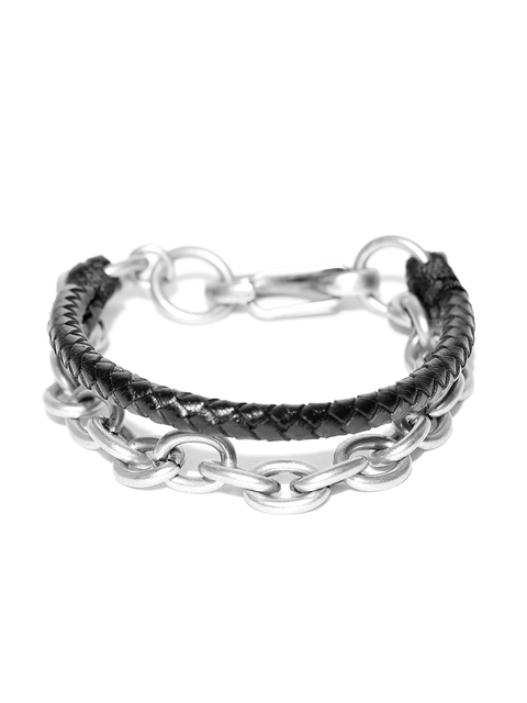 Being Human Men Black & Silver-Toned Basketweave Bracelet