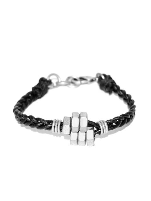Being Human Jewellery Men Black Leather Braided Bracelet
