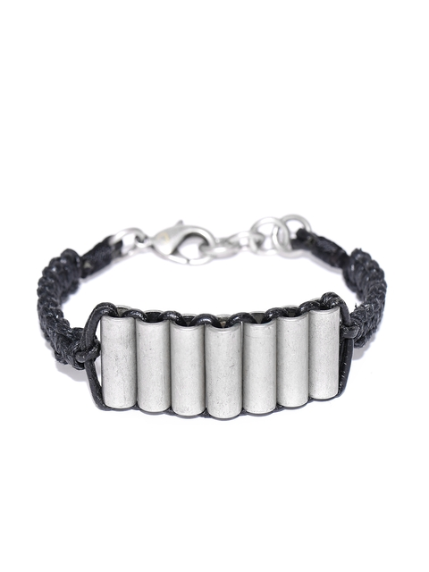 Being Human Men Black & Silver-Toned Bracelet