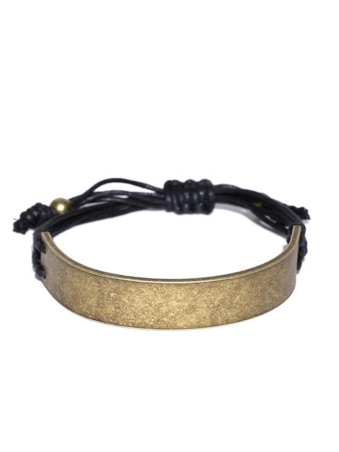 Being Human Men Antique Gold-Toned & Black Bracelet