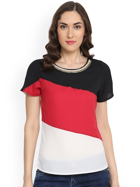 plusS Women Off-White & Red Colourblocked Top