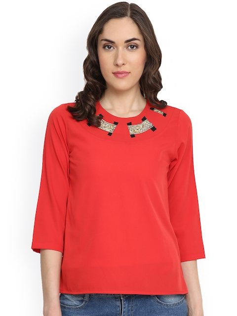 plusS Women Red Embellished Top