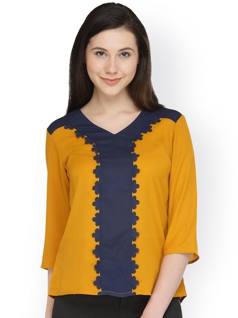 plusS Women Mustard & Navy Colourblocked Top