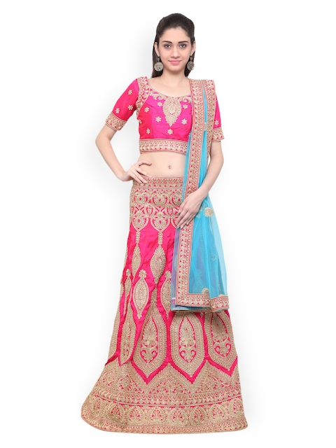Inddus Pink & Gold-Toned Embroidered Unstitched Lehenga Choli with Dupatta