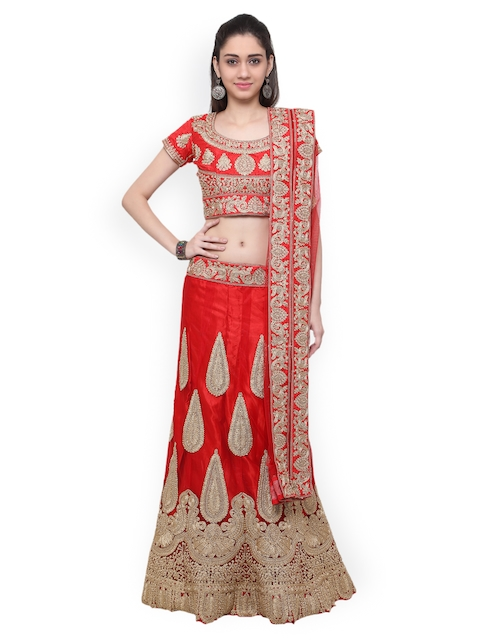 Inddus Red & Gold-Toned Embroidered Unstitched Lehenga Choli with Dupatta