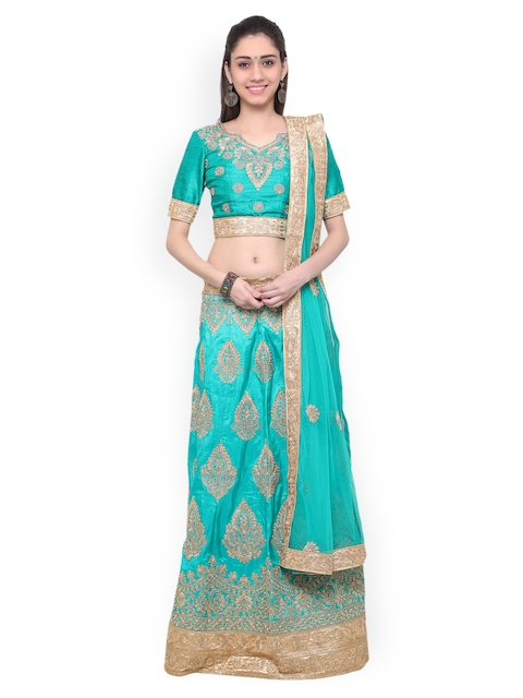 Inddus Green & Gold-Toned Embroidered Unstitched Lehenga Choli with Dupatta