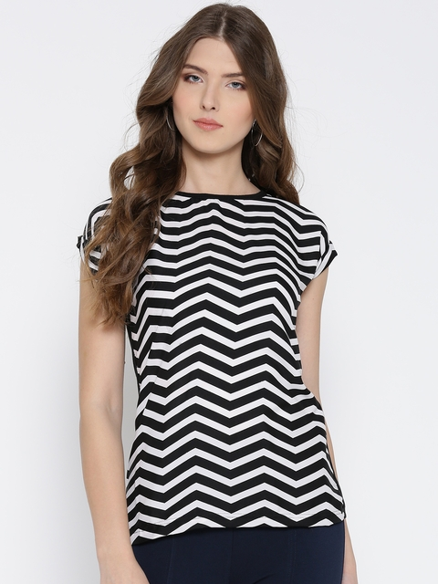 U&F Women Black & White Chevron Print Top