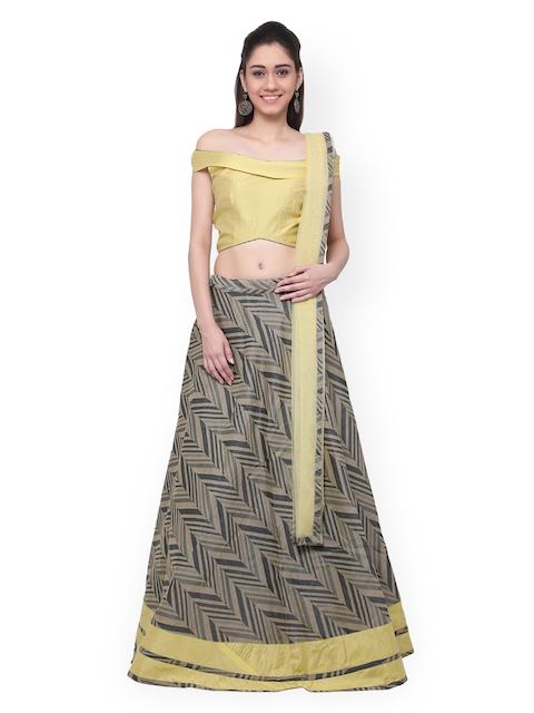 Inddus Yellow & Grey Semi-Stitched Lehenga Choli with Dupatta