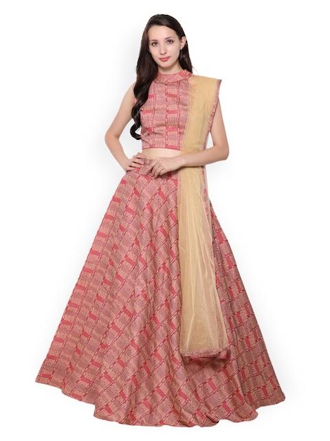 Inddus Pink & Beige Printed Semi-Stitched Lehenga Choli with Dupatta
