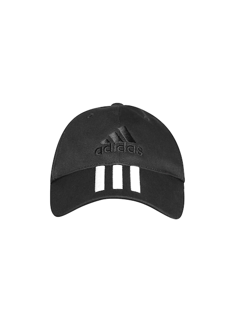 ADIDAS Unisex Black 6 Panel 3 Stripes Cotton Cap