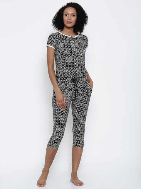 Sweet Dreams Black & White Printed Lounge Jumpsuit 211916
