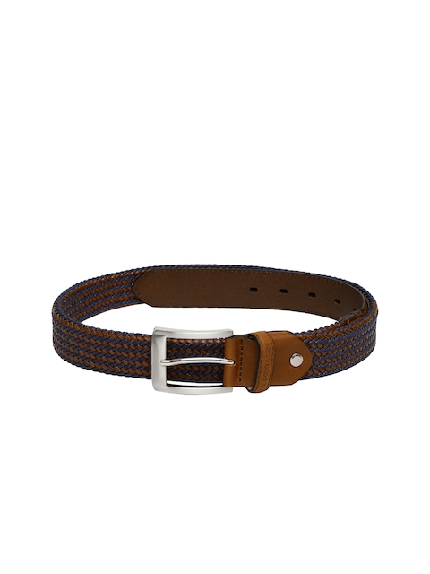 U.S. Polo Assn. Men Brown & Navy Woven Leather Belt